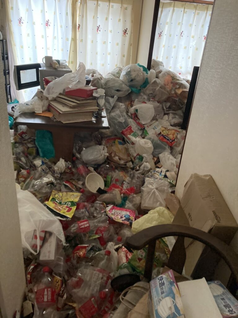 ゴミが散乱している部屋の様子